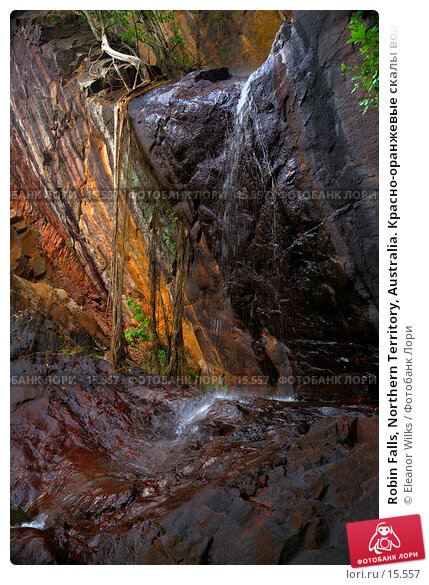 Robin Falls, Northern Territory, Australia. Красно-оранжевые скалы водопада Малиновки в сухой сезон. , фото № 15557, снято 25 декабря 2006 г. (c) Eleanor Wilks / Фотобанк Лори