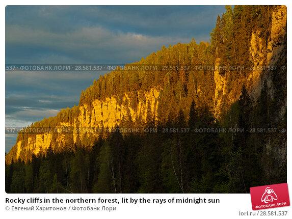Купить «Rocky cliffs in the northern forest, lit by the rays of midnight sun», фото № 28581537, снято 11 июня 2018 г. (c) Евгений Харитонов / Фотобанк Лори
