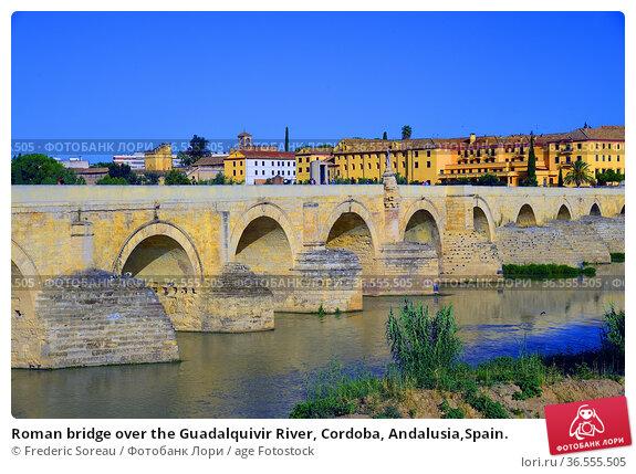 Roman bridge over the Guadalquivir River, Cordoba, Andalusia,Spain. Стоковое фото, фотограф Frederic Soreau / age Fotostock / Фотобанк Лори