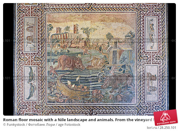 Купить «Roman floor mosaic with a Nile landscape and animals. From the vineyard Maccarani at S. Saba Aventine, Rome. 2nd century AD. National Roman Museum, Rome, Italy.», фото № 28250101, снято 1 апреля 2017 г. (c) age Fotostock / Фотобанк Лори