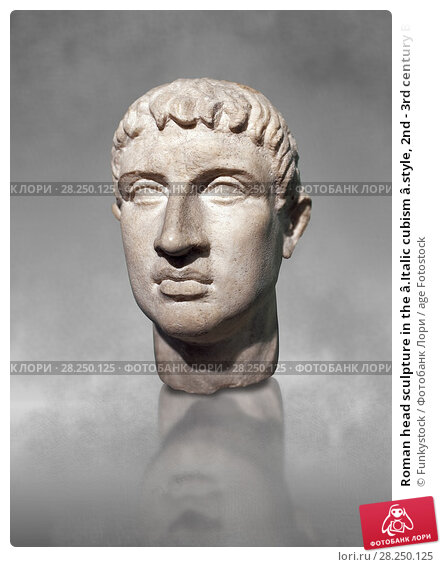 Купить «Roman head sculpture in the â.Italic cubism â.style, 2nd - 3rd century BC, found in the foundations of the Ministery of Finance on the via XX Septembre, Rome. The National Roman Museum, Rome, Italy.», фото № 28250125, снято 18 января 2019 г. (c) age Fotostock / Фотобанк Лори