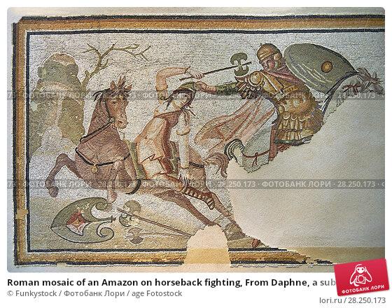 Купить «Roman mosaic of an Amazon on horseback fighting, From Daphne, a suburb of Antioch, Antakya, Turkey, 4th century AD. Marble blocks and glass paste cubes...», фото № 28250173, снято 12 сентября 2013 г. (c) age Fotostock / Фотобанк Лори