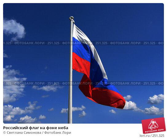 Российский флаг на фоне неба, фото № 251325, снято 28 июля 2005 г. (c) Светлана Симонова / Фотобанк Лори