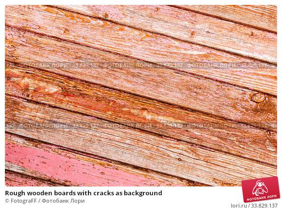 Купить «Rough wooden boards with cracks as background», фото № 33829137, снято 25 августа 2019 г. (c) FotograFF / Фотобанк Лори