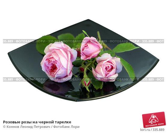 Розовые розы на черной тарелке, фото № 335889, снято 26 мая 2017 г. (c) Коннов Леонид Петрович / Фотобанк Лори