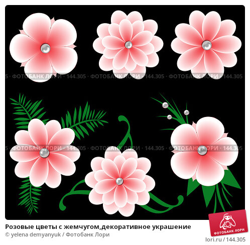 Розовые цветы с жемчугом,декоративное украшение, иллюстрация № 144305 (c) yelena demyanyuk / Фотобанк Лори
