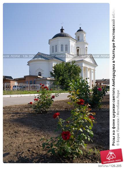 Розы на фоне церкви святого Амбарцума в Чалтыре Ростовской области, фото № 126205, снято 18 июля 2007 г. (c) Борис Панасюк / Фотобанк Лори