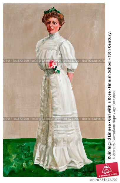Ruin Ingrid Linnea - Girl with a Rose - Finnish School - 19th Century. Редакционное фото, фотограф Artepics / age Fotostock / Фотобанк Лори