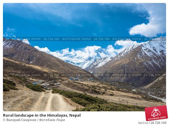 Купить «Rural landscape in the Himalayas, Nepal», фото № 28728169, снято 6 апреля 2018 г. (c) Валерий Смирнов / Фотобанк Лори