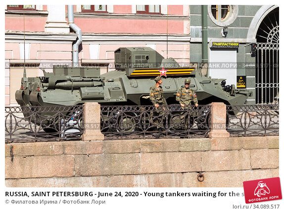 Купить «RUSSIA, SAINT PETERSBURG - June 24, 2020 - Young tankers waiting for the start of the parade on Palace square in honor of the 75th anniversary of Victory», фото № 34089517, снято 24 июня 2020 г. (c) Филатова Ирина / Фотобанк Лори