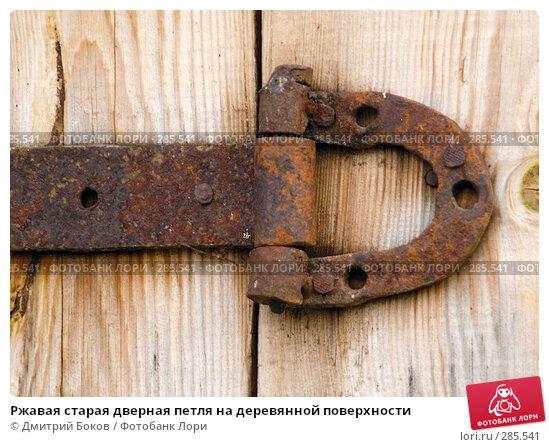 Ржавая старая дверная петля на деревянной поверхности, фото № 285541, снято 9 мая 2008 г. (c) Дмитрий Боков / Фотобанк Лори