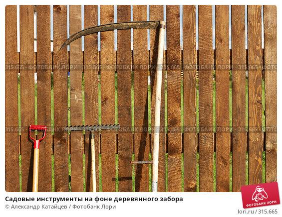 Садовые инструменты на фоне деревянного забора, фото № 315665, снято 8 июня 2008 г. (c) Александр Катайцев / Фотобанк Лори
