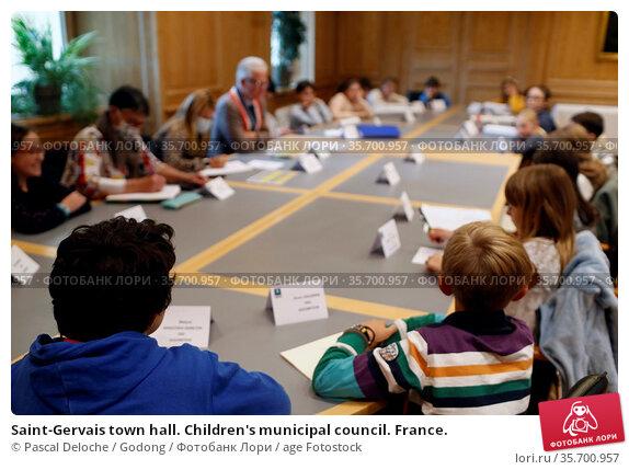 Saint-Gervais town hall. Children's municipal council. France. Стоковое фото, фотограф Pascal Deloche / Godong / age Fotostock / Фотобанк Лори