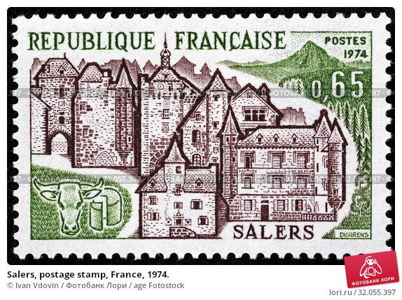 Salers, postage stamp, France, 1974. (2013 год). Редакционное фото, фотограф Ivan Vdovin / age Fotostock / Фотобанк Лори