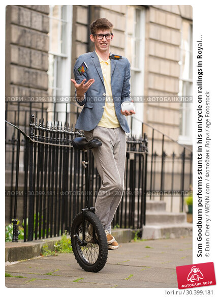 Купить «Sam Goodburn performs stunts in his unicycle on railings in Royal Circus in Edinburgh. Featuring: Sam Goodburn Where: Edinburgh, United Kingdom When: 07 Aug 2017 Credit: Euan Cherry/WENN.com», фото № 30399181, снято 7 августа 2017 г. (c) age Fotostock / Фотобанк Лори