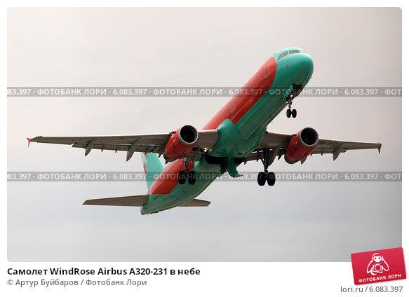 Самолет WindRose Airbus A320-231 в небе (2014 год). Редакционное фото, фотограф Артур Буйбаров / Фотобанк Лори