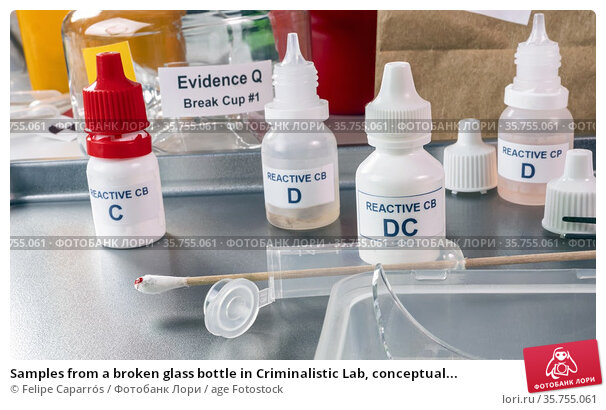 Samples from a broken glass bottle in Criminalistic Lab, conceptual... Стоковое фото, фотограф Felipe Caparrós / age Fotostock / Фотобанк Лори