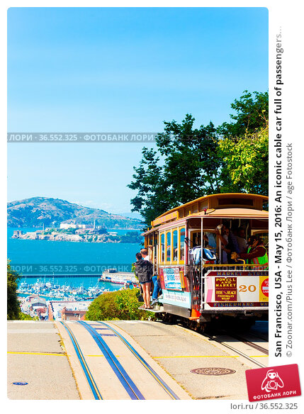 San Francisco, USA - May 15, 2016: An iconic cable car full of passengers... Стоковое фото, фотограф Zoonar.com/Pius Lee / age Fotostock / Фотобанк Лори