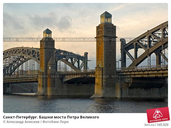 Санкт-Петербург. Башни моста Петра Великого, эксклюзивное фото № 165929, снято 2 декабря 2006 г. (c) Александр Алексеев / Фотобанк Лори