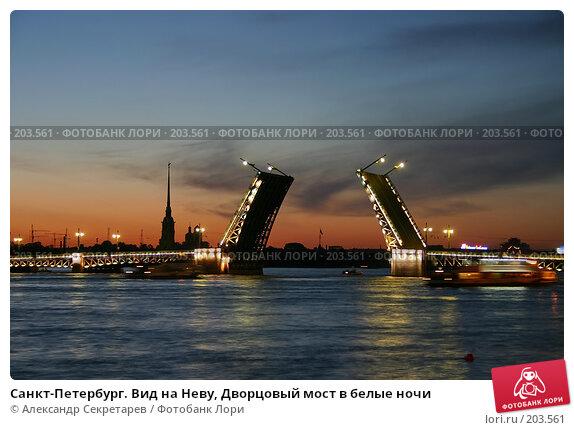 Санкт-Петербург. Вид на Неву, Дворцовый мост в белые ночи, фото № 203561, снято 10 июня 2005 г. (c) Александр Секретарев / Фотобанк Лори