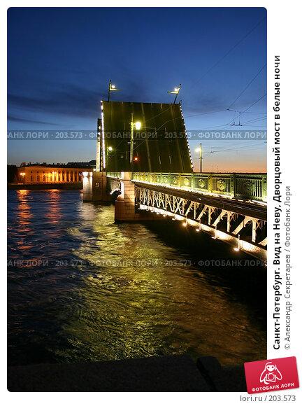 Санкт-Петербург. Вид на Неву, Дворцовый мост в белые ночи, фото № 203573, снято 10 июня 2005 г. (c) Александр Секретарев / Фотобанк Лори