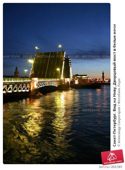 Санкт-Петербург. Вид на Неву, Дворцовый мост в белые ночи, фото № 203581, снято 10 июня 2005 г. (c) Александр Секретарев / Фотобанк Лори