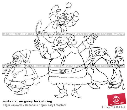 santa clauses group for coloring. Стоковое фото, фотограф Igor Zakowski / easy Fotostock / Фотобанк Лори