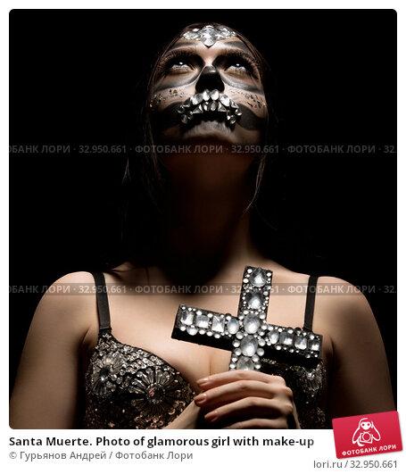 Santa Muerte. Photo of glamorous girl with make-up. Стоковое фото, фотограф Гурьянов Андрей / Фотобанк Лори