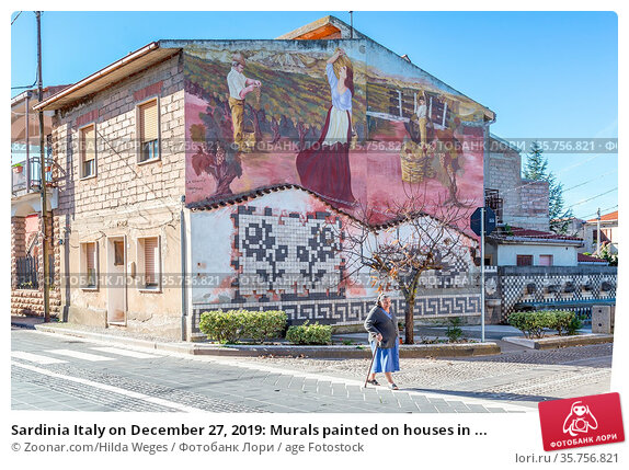 Sardinia Italy on December 27, 2019: Murals painted on houses in ... Стоковое фото, фотограф Zoonar.com/Hilda Weges / age Fotostock / Фотобанк Лори