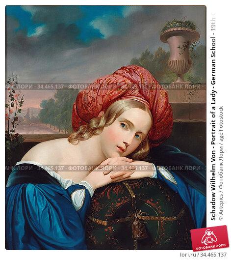 Schadow Wilhelm Von - Portrait of a Lady - German School - 19th Century... Стоковое фото, фотограф Artepics / age Fotostock / Фотобанк Лори