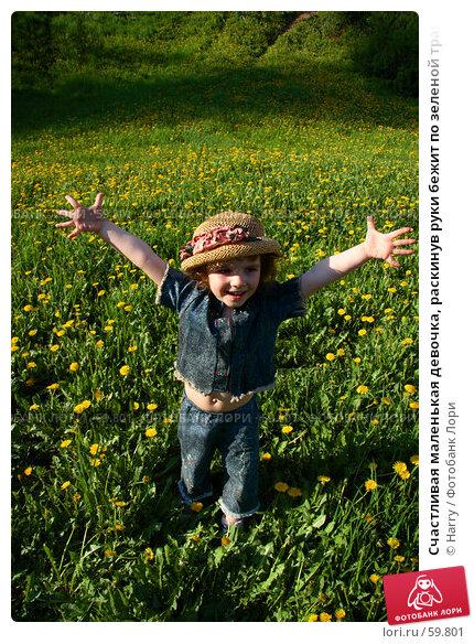 Счастливая маленькая девочка, раскинув руки бежит по зеленой траве с желтыми одуванчиками навстречу фотографу, фото № 59801, снято 22 мая 2006 г. (c) Harry / Фотобанк Лори