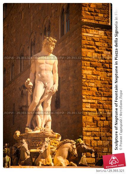Купить «Sculpture of Neptune of Fountain Neptune in Piazza della Signoria in Florence», фото № 29393321, снято 29 августа 2014 г. (c) Роман Гадицкий / Фотобанк Лори