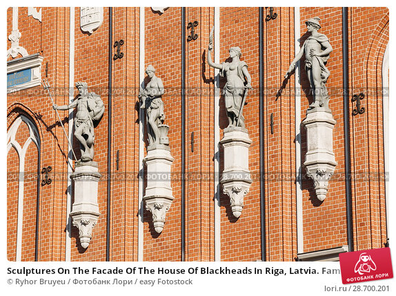 Купить «Sculptures On The Facade Of The House Of Blackheads In Riga, Latvia. Famous Landmark. Travel Destination. Town Hall Square. Four Statues Named After Neptune, Agreement, Peace, Mercury.», фото № 28700201, снято 30 июня 2016 г. (c) easy Fotostock / Фотобанк Лори