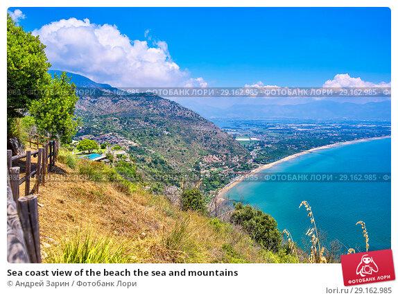 Купить «Sea coast view of the beach the sea and mountains», фото № 29162985, снято 12 июля 2018 г. (c) Андрей Зарин / Фотобанк Лори