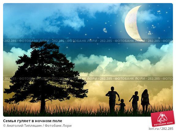 Купить «Семья гуляет в ночном поле», фото № 282285, снято 24 марта 2018 г. (c) Анатолий Типляшин / Фотобанк Лори