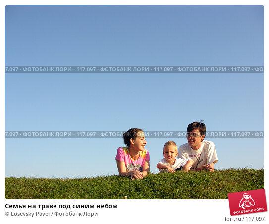 Семья на траве под синим небом, фото № 117097, снято 7 августа 2005 г. (c) Losevsky Pavel / Фотобанк Лори