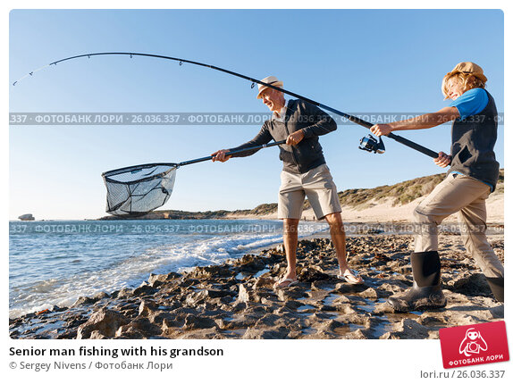 Senior man fishing with his grandson, фото № 26036337, снято 15 апреля 2015 г. (c) Sergey Nivens / Фотобанк Лори