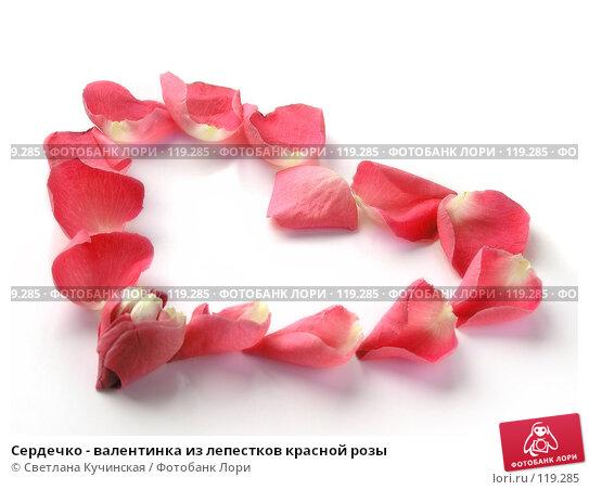 Сердечко - валентинка из лепестков красной розы, фото № 119285, снято 24 марта 2017 г. (c) Светлана Кучинская / Фотобанк Лори