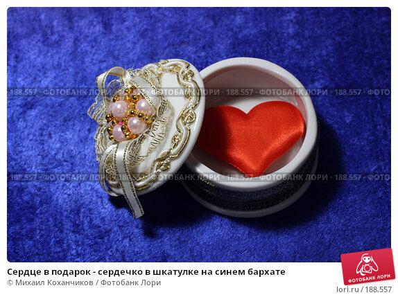 Сердце в подарок - сердечко в шкатулке на синем бархате, фото № 188557, снято 26 января 2008 г. (c) Михаил Коханчиков / Фотобанк Лори