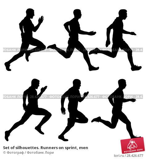 Купить «Set of silhouettes. Runners on sprint, men», иллюстрация № 28426677 (c) Фотограф / Фотобанк Лори