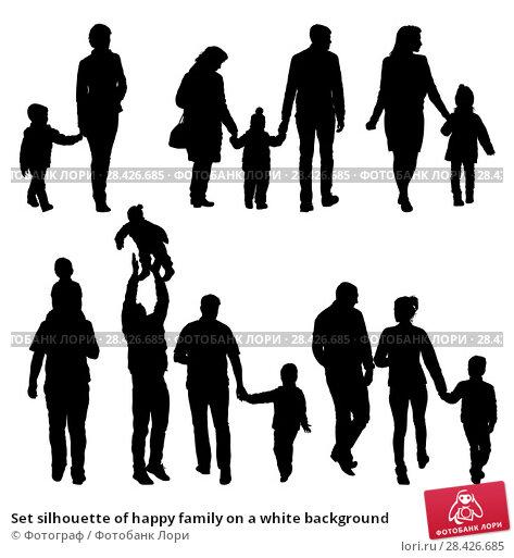 Купить «Set silhouette of happy family on a white background», иллюстрация № 28426685 (c) Фотограф / Фотобанк Лори