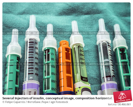 Several Injectors of insulin, conceptual image, composition horizontal. Стоковое фото, фотограф Felipe Caparrós / age Fotostock / Фотобанк Лори