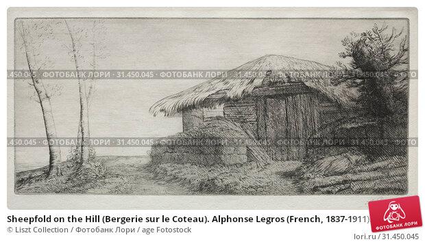 Sheepfold on the Hill (Bergerie sur le Coteau). Alphonse Legros (French, 1837-1911). Etching (2019 год). Редакционное фото, фотограф Liszt Collection / age Fotostock / Фотобанк Лори