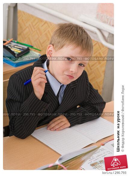 Школьник  на уроке, фото № 290793, снято 14 мая 2008 г. (c) Федор Королевский / Фотобанк Лори