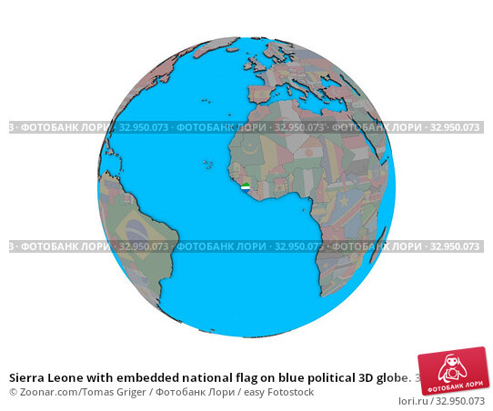 Sierra Leone with embedded national flag on blue political 3D globe. 3D illustration isolated on white background. Стоковое фото, фотограф Zoonar.com/Tomas Griger / easy Fotostock / Фотобанк Лори