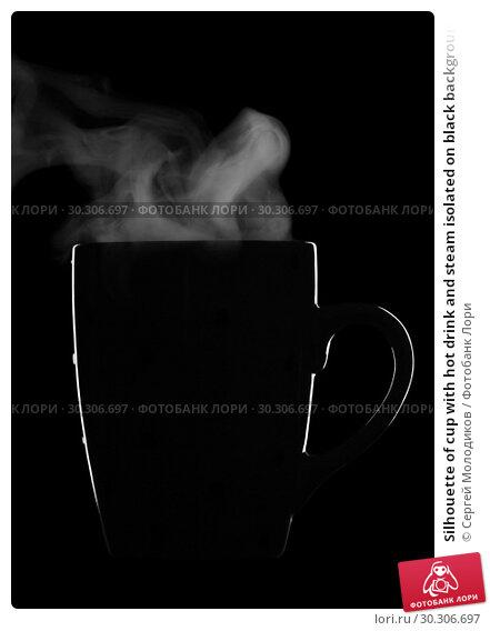 Купить «Silhouette of cup with hot drink and steam isolated on black background», фото № 30306697, снято 22 февраля 2019 г. (c) Сергей Молодиков / Фотобанк Лори