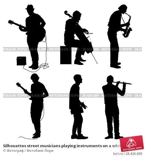 Купить «Silhouettes street musicians playing instruments on a white background», иллюстрация № 28426689 (c) Фотограф / Фотобанк Лори