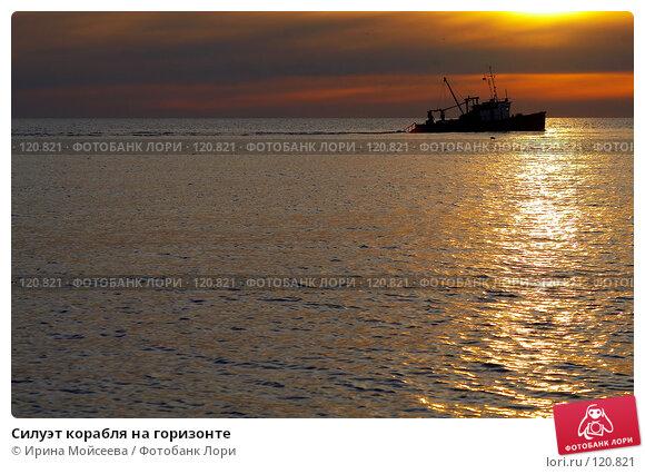 Силуэт корабля на горизонте, эксклюзивное фото № 120821, снято 21 ноября 2006 г. (c) Ирина Мойсеева / Фотобанк Лори