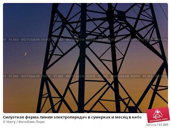 Купить «Силуэтная ферма линии электропередач в сумерках и месяц в небе», фото № 91065, снято 17 августа 2007 г. (c) Harry / Фотобанк Лори