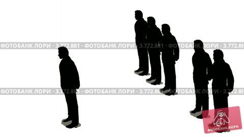 Купить «Силуэты  на белом фоне. Бизнесмен выходит из шеренги других», видеоролик № 3772881, снято 7 мая 2008 г. (c) Losevsky Pavel / Фотобанк Лори